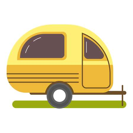 Travel trailer caravanning in yellow color isolated on white