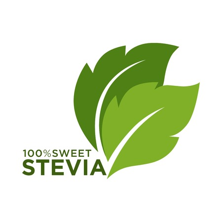 Green symbol of stevia or sweet grass 100 percent logo 矢量图像