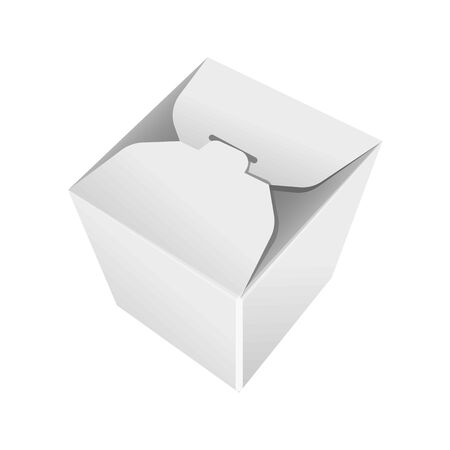 storage box: Take away white blank pack isolated vector in flat design.