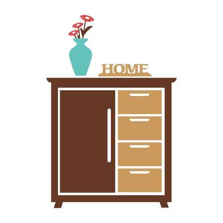 highboy: Brown cupboard with blue flower vase, carved sign of home Illustration