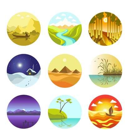 river: Natural landscapes circular logo icons vector banner on white Illustration