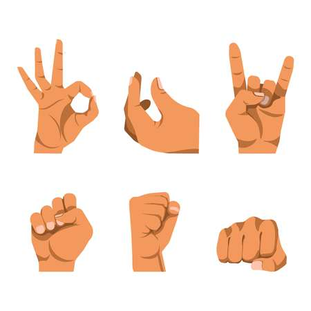 business sign: Hands gestures in six icons on white background. Fingers sign of horn, everything is fine or okay, fist from different sides. Vector illustration of hand movements in graphic style flat design. Illustration