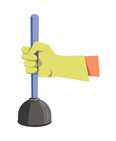 Hand in green lime rubber glove holds color plunger Illustration