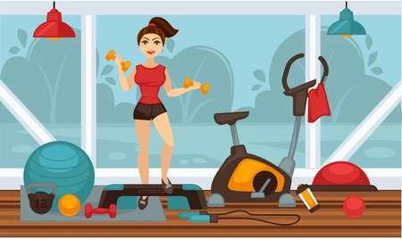 Girl in good shape doing physical exercises with dumbbells in gym. Vector colorful illustration in flat design of sporty young female person in health club. Healthy lifestyle template picture.