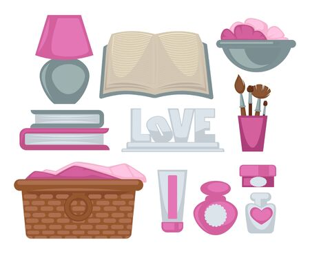 makeup products: Girl room stylish elements vector poster on white. Collection of colorful books, makeup brushes, beauty products, laundry basket, and night lamp in pink-grey colors. Female equipments template