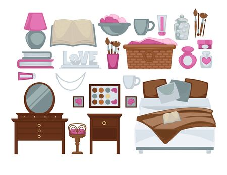 Girls bedroom isolated decorative elements colorful vector poster. Interior things for female room, double bed, dressing and bedside tables, beauty products, grey cups, colorful books, laundry basket Illustration
