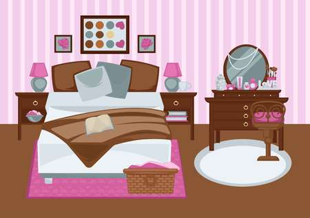 female pink: Bedroom for girl in pink colors flat illustration. Vector colorful picture of contemporary furnished room for female person with double bed, wooden dressing table with mirror, stripe rosy wallpaper