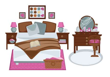Glamour interior of girls bedroom in pink and white brown tones. Vector illustration of two bedside tables, wide bed, wicker basket with laundry, dark trellis with chair, three paintings on wall Illustration