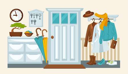 corridors: Home hallway interior colorful flat illustration in flat design. Vector picture of house room with front door, where outerwear and shoes are kept with umbrellas and other decorative things.
