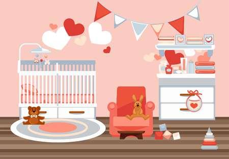 Intérieur de la chambre pour nouveau-né avec photo de vecteur coloré éléments décoratifs. Illustration de la salle de jeux avec berceau blanc, fauteuil ruddy, jouets souples et en plastique, commode avec des équipements pour bébé