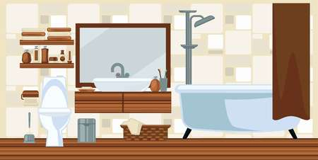 bathroom mirror: Washroom interior design in brown colors flat illustration. Vector colorful picture of restroom with toilet and white bathtub, laundry basket, litter bin and beauty products with towels on shelves Illustration