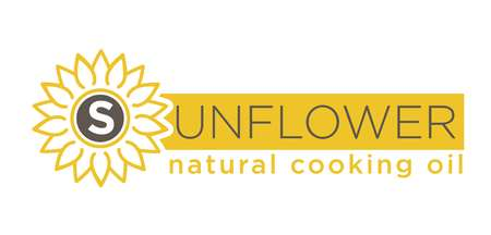 helianthus: Sunflower natural cooking oil emblem of natural organic oil with yellow helianthus silhouette on white background. Logotype design of subsistence production vector illustration hand drawn symbol