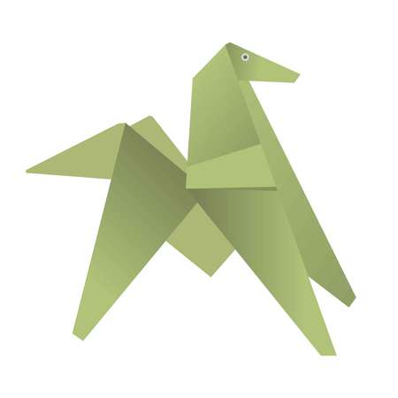 triangle shaped: Green origami of dog or horse isolated on white background flat design. Paper color figure of animal. Vector illustration of handmade. Cartoon drawing in graphic style