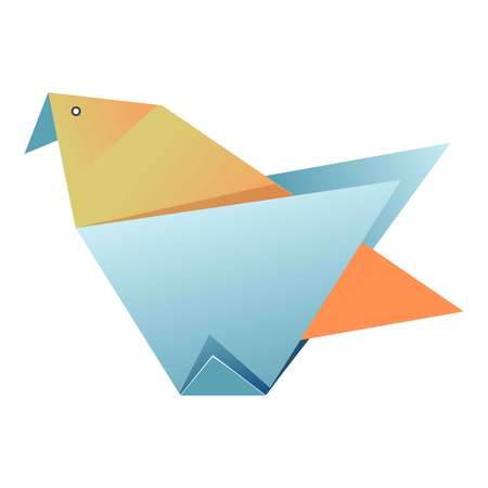 Blue and yellow origami of bird graphic icon isolated on white background. Carton handmade with wings, eyes and beak. Ancient art of folding paper figures vector illustration flat design for web. Illustration