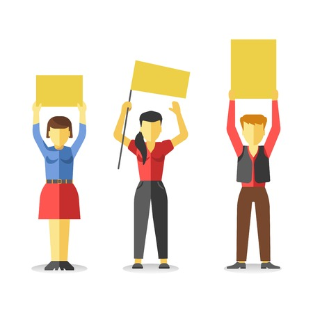 Protesting people holding empty yellow banners above head isolated on white. Vector of strike at demonstration in flat style design. Worker demonstrators with hands up, revolution for freedom Illustration