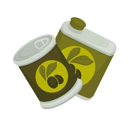 Little iron and big plastic banks with green emblem of olives isolated on white. Small jar with self-opening lid and edible symbol. Vector illustration of packaged products of olive-trees flat design. Иллюстрация