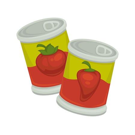 Piccole banche di plastica in ferro con pomodori e emblema di pepe rosso isolato su bianco. Vaso con coperchio auto-apertura e simbolo commestibile. Illustrazione vettoriale di prodotti confezionati di verdure in design piatto.