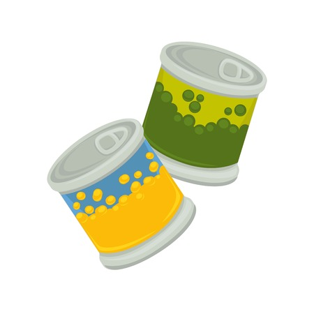 shiny: Little iron plastic banks with emblem of peas and corn isolated on white. Small jar with self-opening lid vector illustration of packaged products of yellow corns or green beans flat design. Illustration