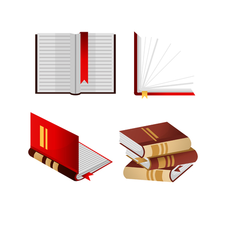 books isolated: Books with bookmarks isolated and folded in pile Illustration
