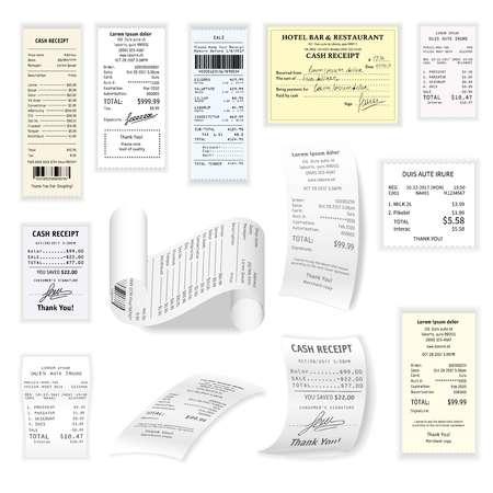 商業小切手ベクトル フラット セット白で隔離