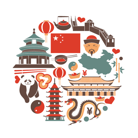 Chinese national things collection in circle on white