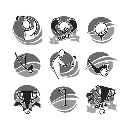 Golf game logotypes in grey color set isolated on white 矢量图像