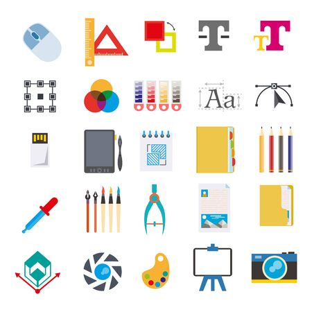 editor: Stationery and tools for writing on computer vector set