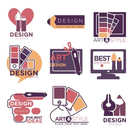 logo: Design studio logo labels collection isolated on white Illustration
