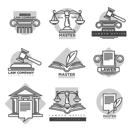 Law bedrijfslogotypes instellen in grijze kleur op wit
