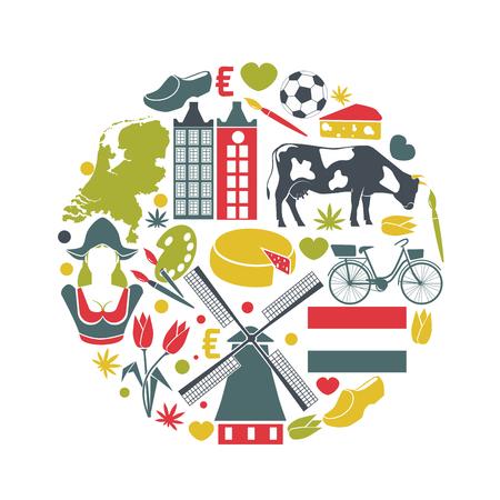 Nederlandse reisschets voor toeristen van traditionele symbolen