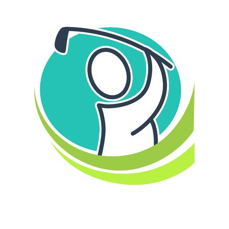 asociacion: Professional golf club emblem with cartoon player illustration