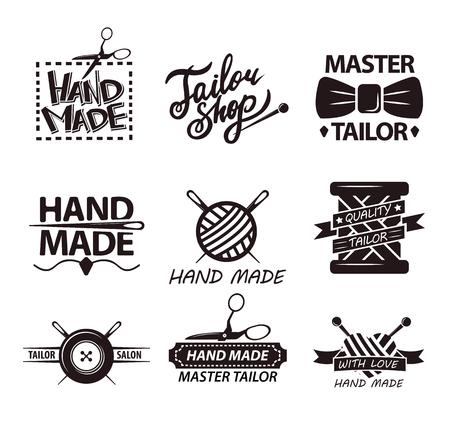 industry: Tailor salon advertisement logotypes. Set of logos for handmade shops Illustration