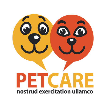 pat: Pat care emblem with dog and cat faces in circles