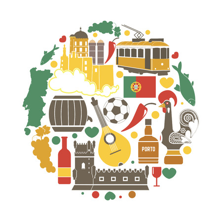 Portugal traditional objects vector collection in circle on white