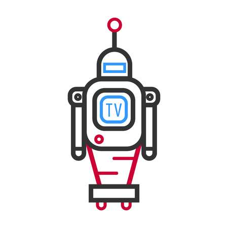 screen: Minimalistic robot with TV screen and antenna on wheels