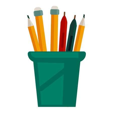 Bleistifte mit Gummis oben in Glas Tasse Vektor-Illustration Vektorgrafik