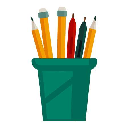 glass cup: Pencils with rubbers on top in glass cup vector illustration