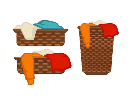 dirty clothes: Wicker baskets with dirty laundry isolated illustrations set