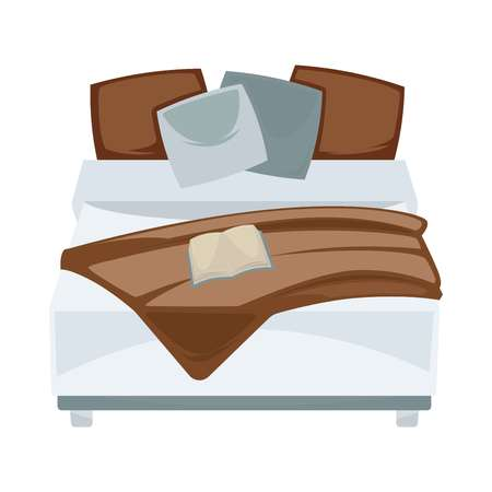 book: Dark double bed with pillows and open book in bedroom Illustration
