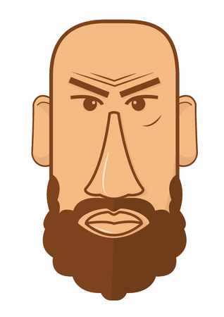 Avatar of bald male with beard vector illustration in flat style design. Man with square shape face user pic isolated on white.