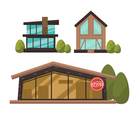 green buildings: Three fashionable shops with french windows colorful vector poster in flat design. Buildings made of bricks and wood with big panoramic casements near green bushes and one with shop inscription Illustration