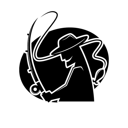 Fishermen club black and white logo emblem vector illustration. Professional angler in hat with brim smiles and throws bait of spinning silhouette in black circle isolated web button logotype