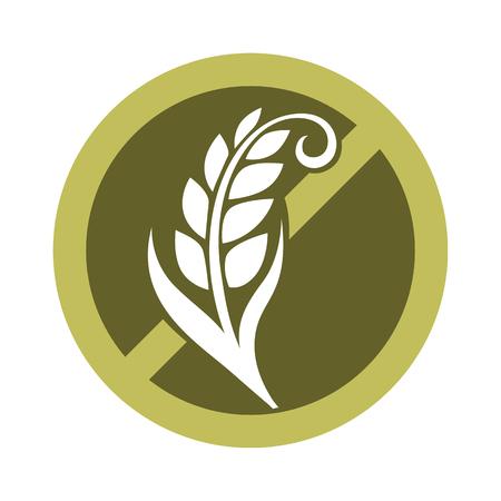 Gluten vrije substantie in het embleemontwerp van graangewassenkorrels in het verbannen van cirkel met gekruiste tarwe vectordieillustratie op wit wordt geïsoleerd. Product zonder ingrediënt dat verantwoordelijk is voor de elastische textuur van het deeg