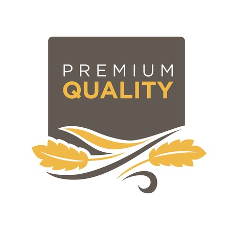 logo: Premium quality grain logo with ears of wheat symbol isolated on white. Fresh yellow grain with text logotype written on black circle vector illustration in flat design. Advertisement bread label Illustration