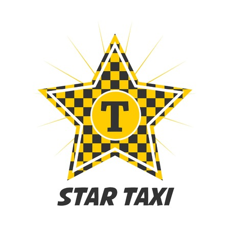 Star taxi logotype with checker in yellow and black colors