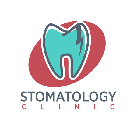 Stomatology clinic logo on oval background. Dentistry icon, toothpaste advertisement.