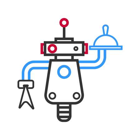Outlined robot waiter with meal on tray and napkin Illustration