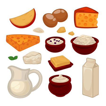 Dairy products colorful vector set isolated on white