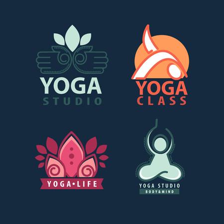 logo: Yoga studio body and mind logotype illustrations set