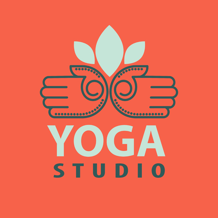 Yoga studio logotype met open palmen geïsoleerd vector illustratie